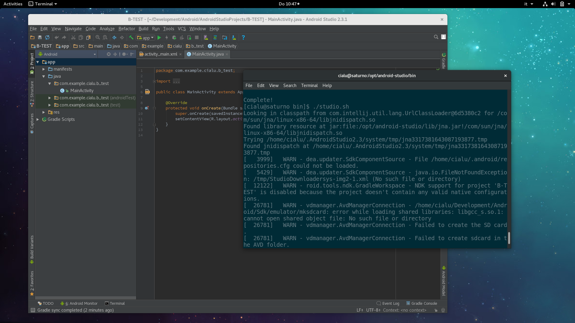 Android Studio IDE on Fedora 26 Alpha