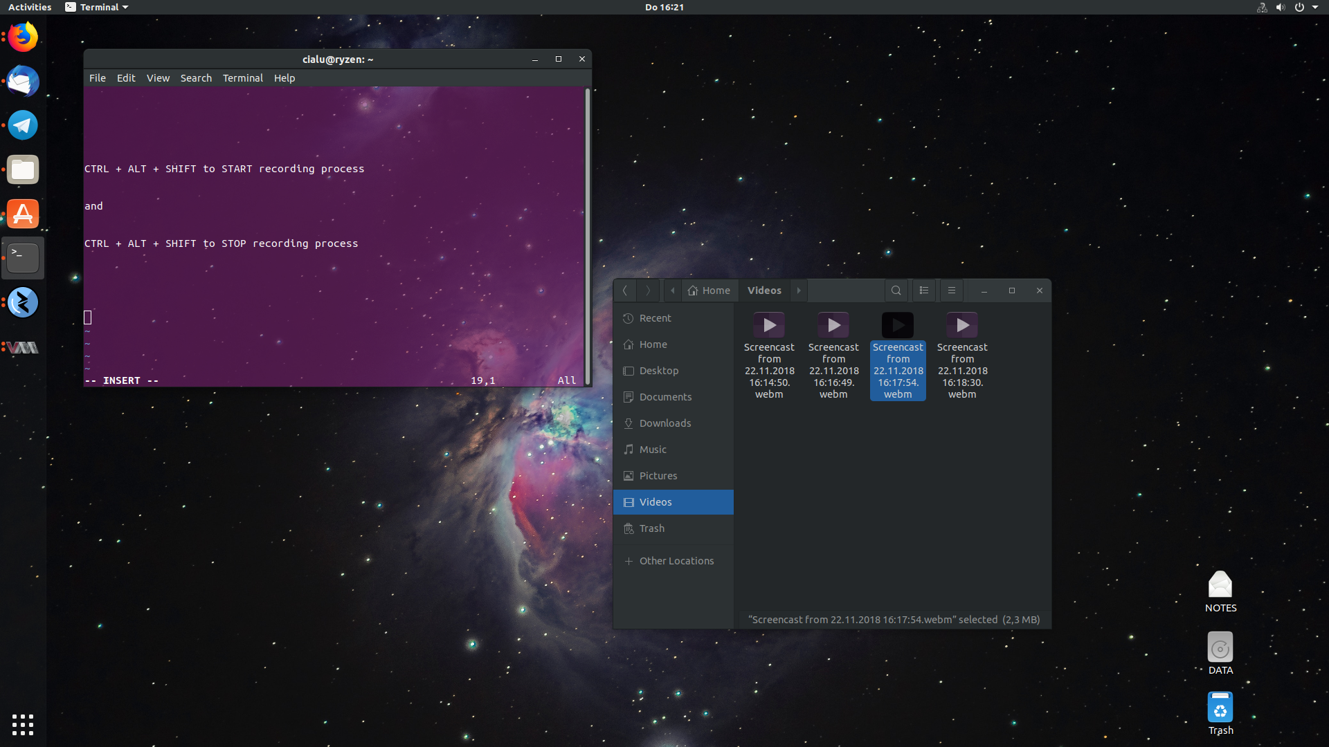 It's easy to use the GNOME built-in screen recording tool