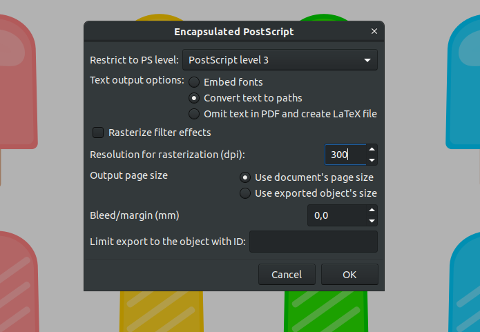 EPS exporting options in Inkscape