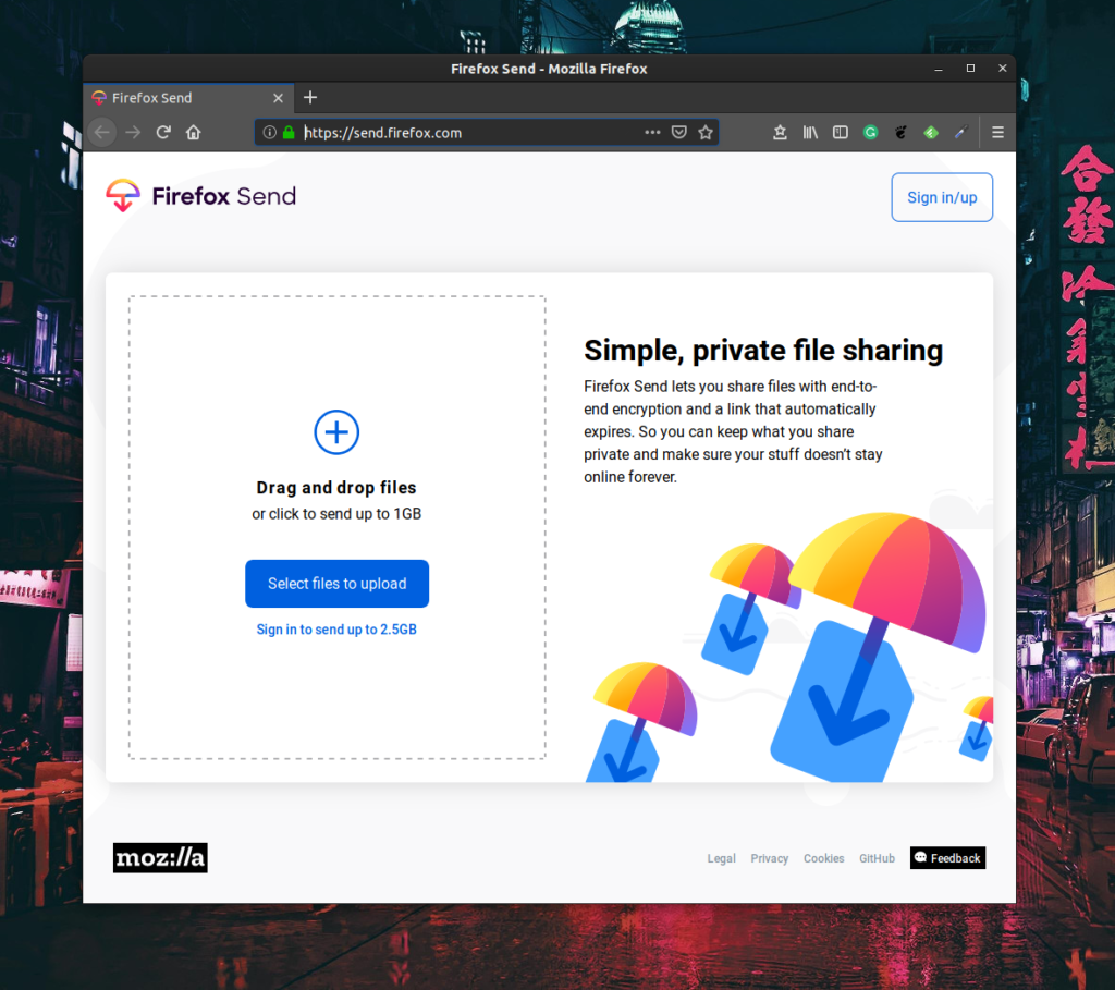 Firefox Send. Free, simple, secure and private file sharing system