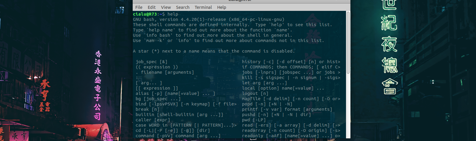 Bash scripting - Help in terminal window