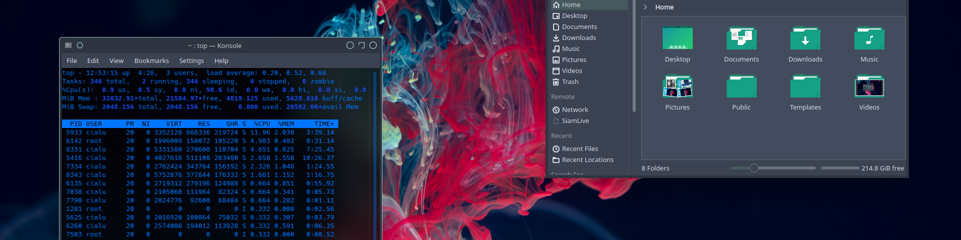 Neon themed KDE desktop with Nord color palette