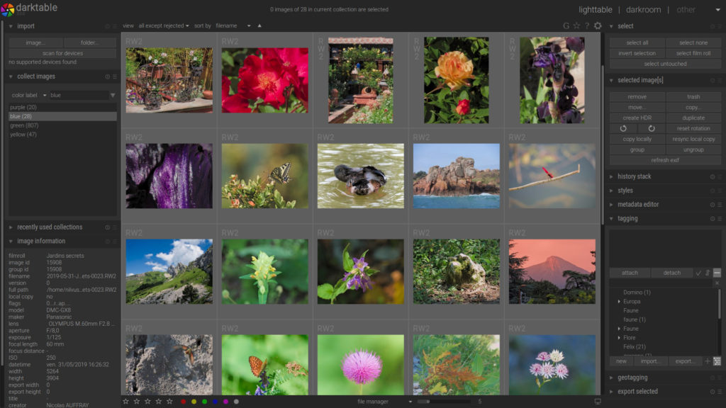 Darktable is an opensource application for photographic workflow management and raw development