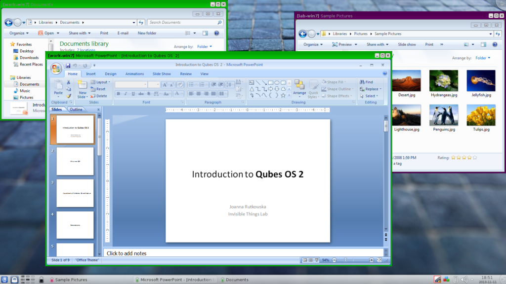 Qubes OS, from the Release 2, can also run Windows AppVMs in seamless mode, integrated with Linux applications