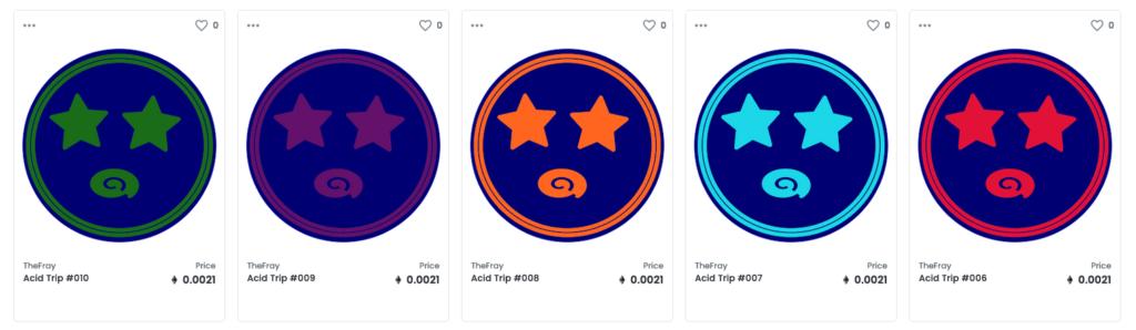 Some TrendingNFT art NFTs on the main market of OpenSea